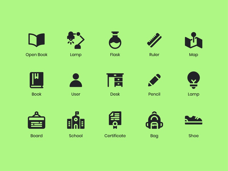 School Icons learning back to school school glyph solid icon icon bundle icon app icon a day app graphic design web modern icon set vector ux icon ui