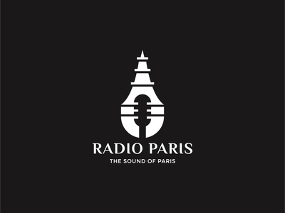 Radio Paris Logo For Sale app radio musician paris eiffel france entertainment music logo dual meaning double meaning logo inspiration logo grid logo guidelines graphic designer logo for sale logoground branding brand identity icon