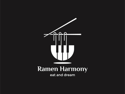 Ramen Harmony Logo Concept for sale vector tokyo symbol restaurant piano music logomark logo for sale logofolio logo japan icon food exploration dual meaning design system branding brand identity beverages app