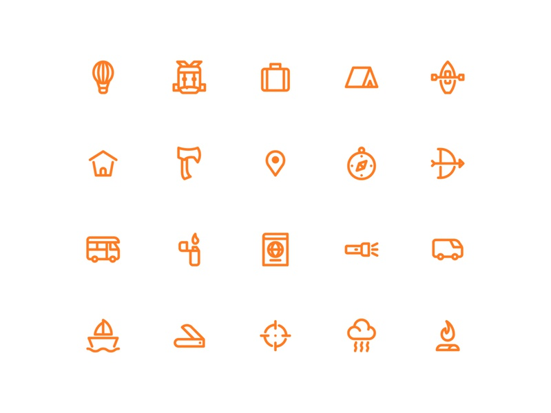 Adventure Icons branding brand identity icon artwork icon design user interface logo illustration iconography icon bundle icon a day graphic design web modern app icon set vector ux ui icon