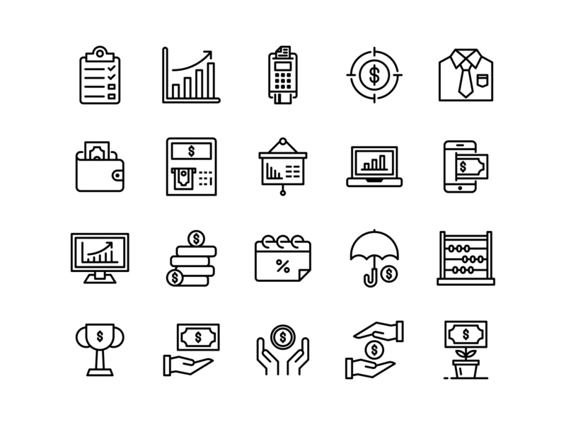 business & finance icons (Line) icon design icon pack iconography outline line flaticon user interface banking finance business icon a day graphic design web modern app icon set vector ux ui icon
