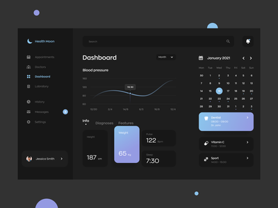 Healthcare Dashboard | Dark Theme concept doctor app patient clinic dark app dark ui ux ui inteface dashboad webdesign healthcare health health app doctors