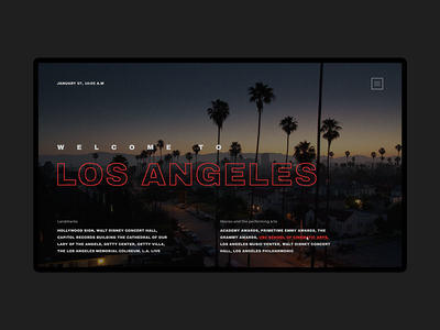 Homepage of the information site about Los Angeles inteface creative concept color homepage ux website typography losangeles web ui design