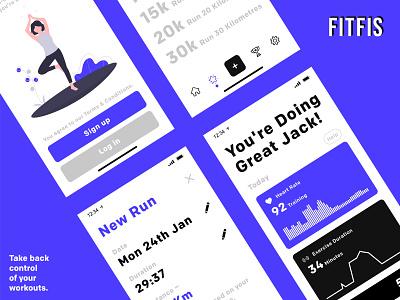Fitness App UI Design Presentation mobile app design mobile app black  white black purple fitness logo fitness app fit ios logo illustration app ux ui typography app design minimal design branding