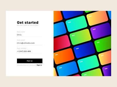 FinTech Sign up Screen for Card Customizer sign up colors gradients visa fin tech web design agency credit card web design illustrator web vector ux ui illustration typography minimal branding design