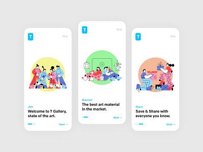 Onboarding for Art Gallery App | Vili yellow green figma pofessional modern art app gallery museum art pink blue minimal app design icon app ux ui flat illustration design