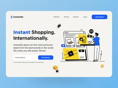 E-commerce Business Landing Page logo clean business ecommerce typography flat black cyan blue landing page tech vector illustration ux design ui minimal ui design professional saas