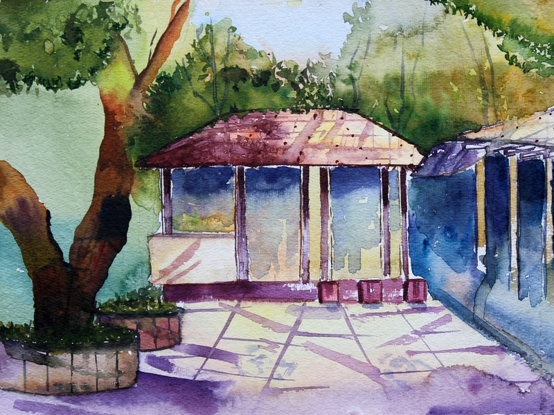 Watercolor On Handmade Sheet sketching painting art drawing light colors color illustraion watercolour landscape design artwork artist