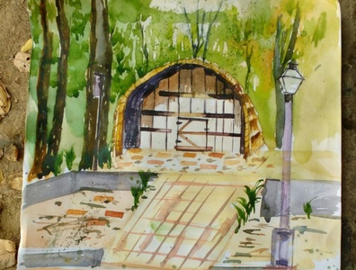 Watercolor On Catridge Sheet artlife art artist color palette colorful color landscape pencil drawing pencil art sketching draw drawing painting paint artwork