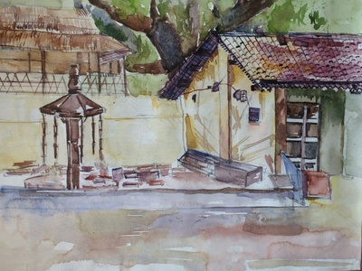 Watercolor On Catridge Sheet draw sketching drawing artistlife artist artwork art landscape painting landscapes watercolor art watercolor painting watercolor colors color paintings painter painting