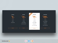 CSS Dark Pricing Tables