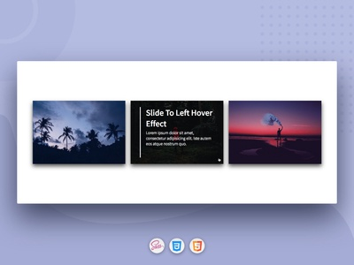 CSS3 Cards with Slide To Left Hover Effect