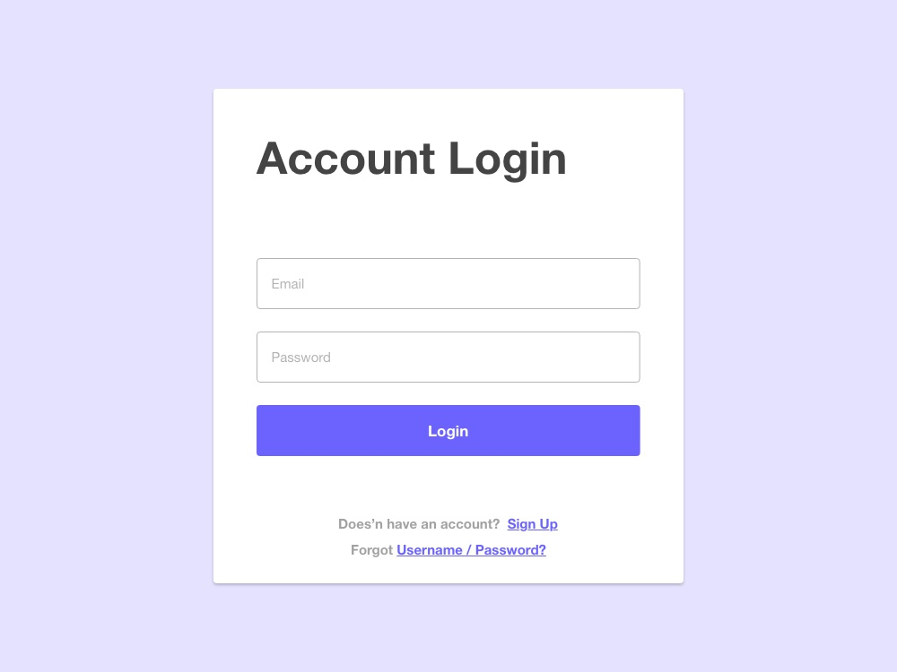 Material Design Account Login by Web Creative Studio on Dribbble