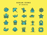 Ocean Filled Outline Icons