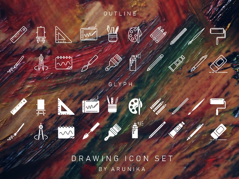Drawing Icons Dribbble working painitng art equipment tools drawing vector design icon