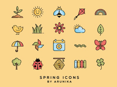 Spring Season Icons by ARUNIKA