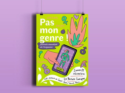 Pas Mon Genre women woman man female male événement event pas mon genre orgasm orgasme nogender gender sexuality sex poster affiche illustration etapes graphique etapes