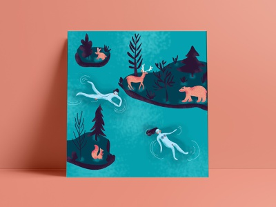 Come to Finland girl brush water lake nature bear deer woman man people nude vector affiche photoshop poster illustrator illustration design come to finland