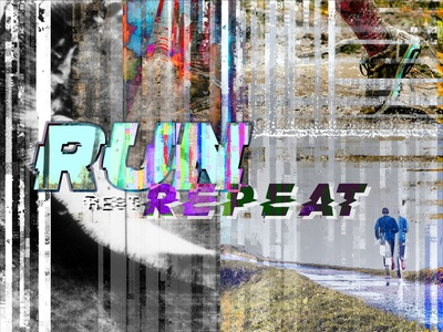 Run Rest Repeat glitch art runner