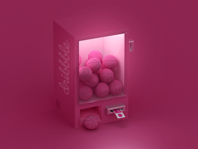 Hello Dribbble ! candy ball basket pink ticket fun c4d machine