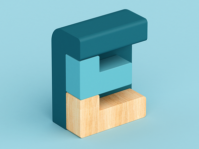 E 3d wood design plastic isometric c4d 36 days of type letter abstract