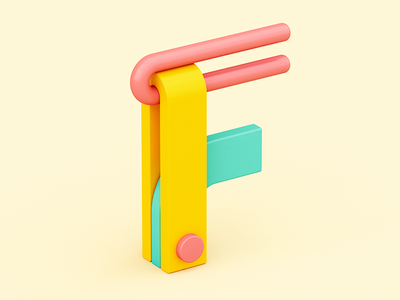 F design 3d plastic fun color candy isometric c4d 36 days of type letter abstract