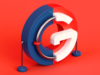 G metal plastic 3d color isometric c4d 36 days of type letter abstract