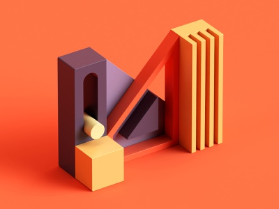 M fun design plastic 3d isometric color c4d abstract 36 days of type letter