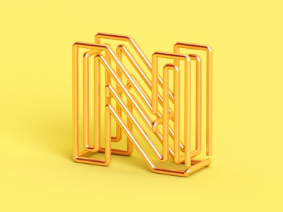 N metal design gold 3d isometric color c4d abstract 36 days of type letter