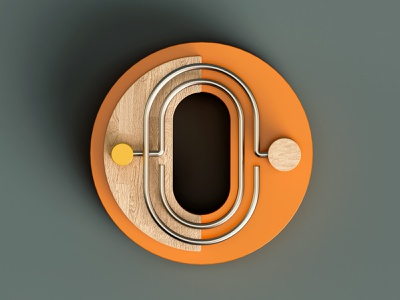 O metal 3d isometric color c4d abstract 36 days of type letter