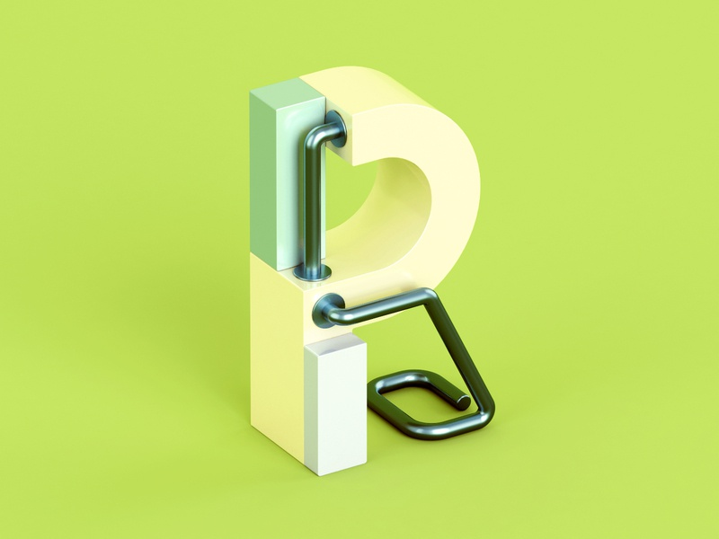 R metal isometric color 3d c4d abstract letter 36 days of type