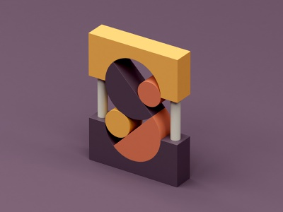 S isometric design abstract c4d 3d color plastic letter 36 days of type