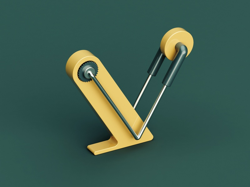 V green metal design plastic isometric color 3d c4d abstract 36 days of type letter