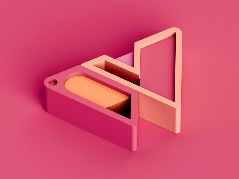 W design color isometric 3d c4d abstract letter 36 days of type