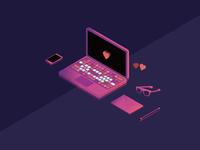 Isometric Laptop Scene
