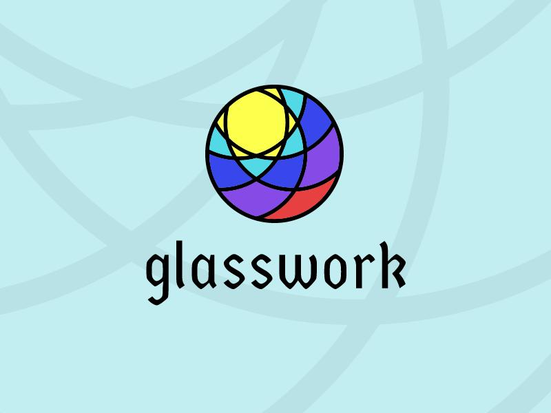 Glasswork Logo blackletter sunshine color stained glass glass branding vector modern minimal illustration circle compass typography logo