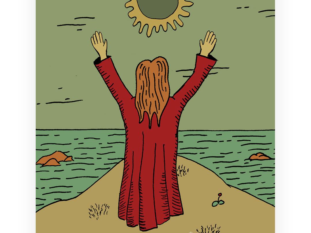Eclipse sky sea water cliff eclypse eclipse witch woman ilustracion astro astro cards astrology cartoon illustration