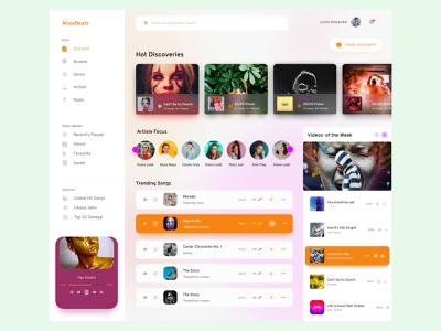 Music App Concept Web interfacedesign web design webapp website ui ux minimal web music player music app design app