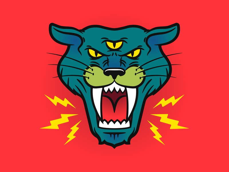 Saber Kitty third eye hell cat lightning smooth lines panther lion tiger kitty cat sbertooth