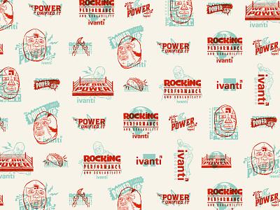 Ivanti — Luchador Pattern wrestling logo type illustration overprint luchador pattern