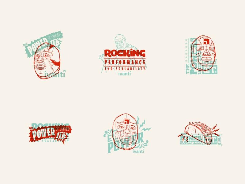 Ivanti — Luchador Lockups logo typography type overprint lockup logotype wrestling luchador