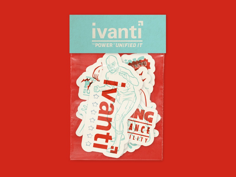 Ivanti — Luchador Sticker Pack branding type wrestling rocking taco slap luchador mockup sticker pack sticker stickers