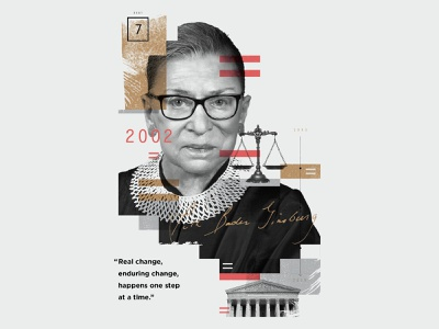 Ruth Bader Ginsburg collage texture overlay illustration