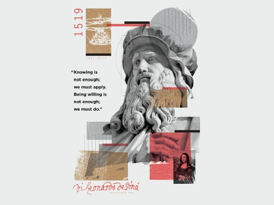 Leonardo Da Vinci⁣ texture overlay collage illustration