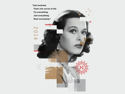 Hedy Lamarr⁣ overlay texture collage illustration
