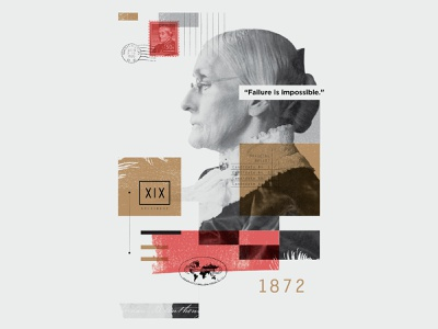 Susan B. Anthony⁣ texture overlay collage illustration