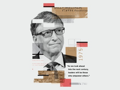 Bill Gates⁣ collage overlay texture illustration