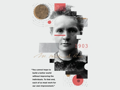 Marie Curie collage texture overlay illustration