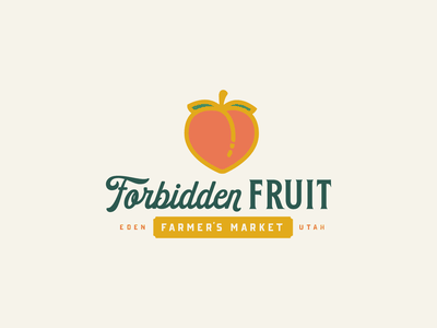 Forbidden Fruit — Branding farmers market farm emoji peach farmer vector branding typography type logo