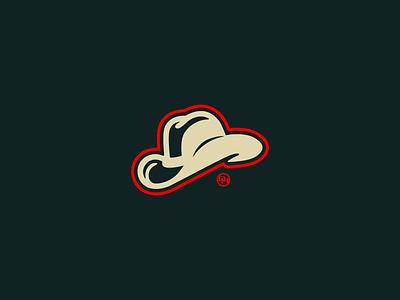White Cowboy Hat lockup logo monogram red white western stetson calgary cowboy hat cowboy